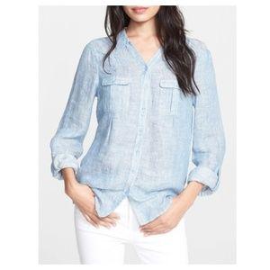 JOIE Booker Linen Button Shirt M